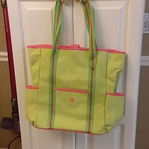 Braciano  lime green & pink tote  embroidered sun